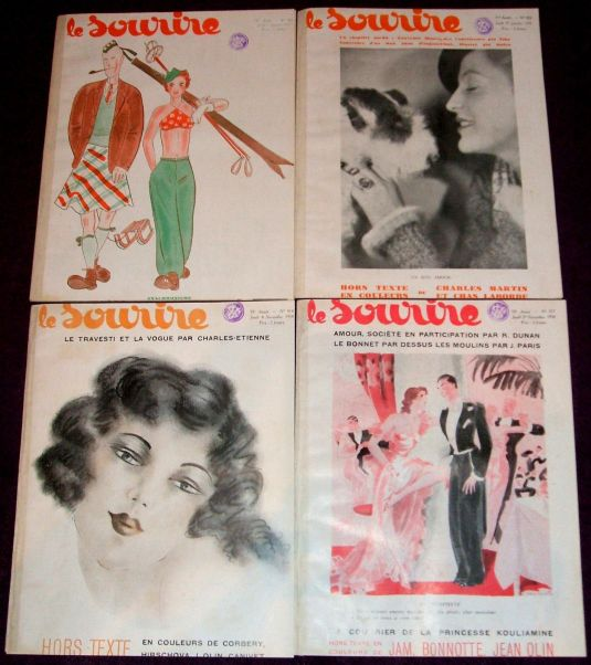 eros 1934-1935 Le Sourire - Lot of 4 Art Deco magazines, erotic illustrators, Risque
