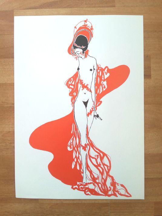 eros art nouveau Erotic vintage poster print rare Egon Schiele Aubrey Beardsley style