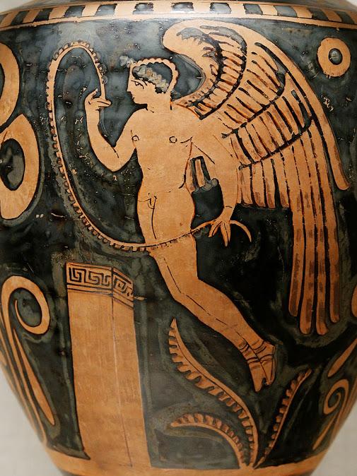 eros en una antigua ánfora griega museo metropolitano de arte de Nueva york