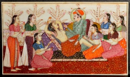 eros Fine antique Persian Indian Royal erotic miniature painting Jaipur school 1820
