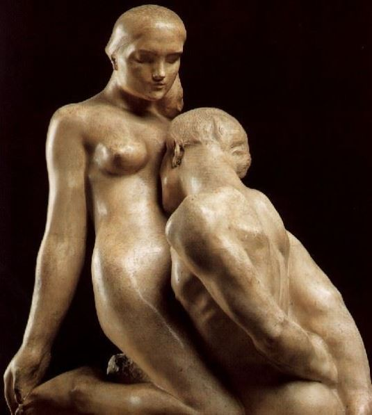 eros mármol por Auguste Rodin en el año 1893 se conserva en el museo Rodin de Paris