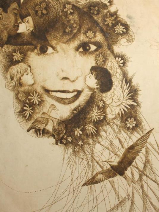 grabado bulgaria 1900-1940 autor desconocido mujer sonriente