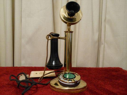 teléfono 1921 teléfono Candelabro antiguo Western Electric 50AL bronce y dial de porcelana