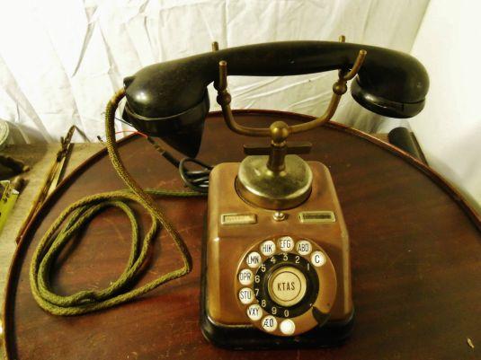 teléfono 1930 base de cobre danés KTAS D30 teléfono Níquel Latón Cromado Deco