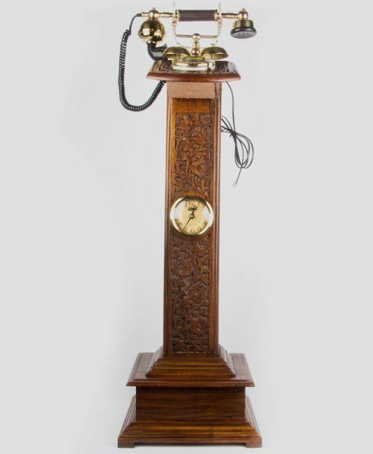 teléfono de madera antiguo maharajá Soporte Teléfono W Reloj Tp 011 india 1890 a 1940