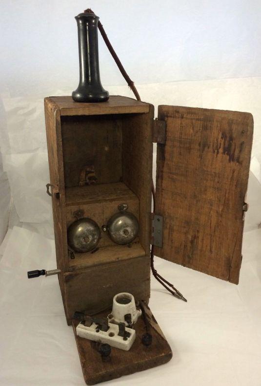 teléfono Mina de carbón de madera antigua c1930 Caseros Fruta Cajón USA