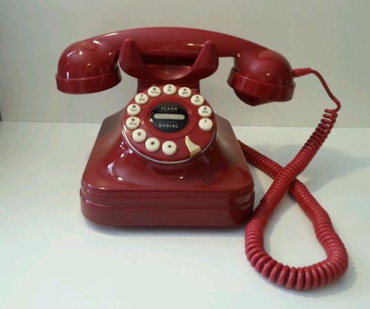 teléfono Rojo Retro Años 50 Estilo Alámbrico Fijo Push Button