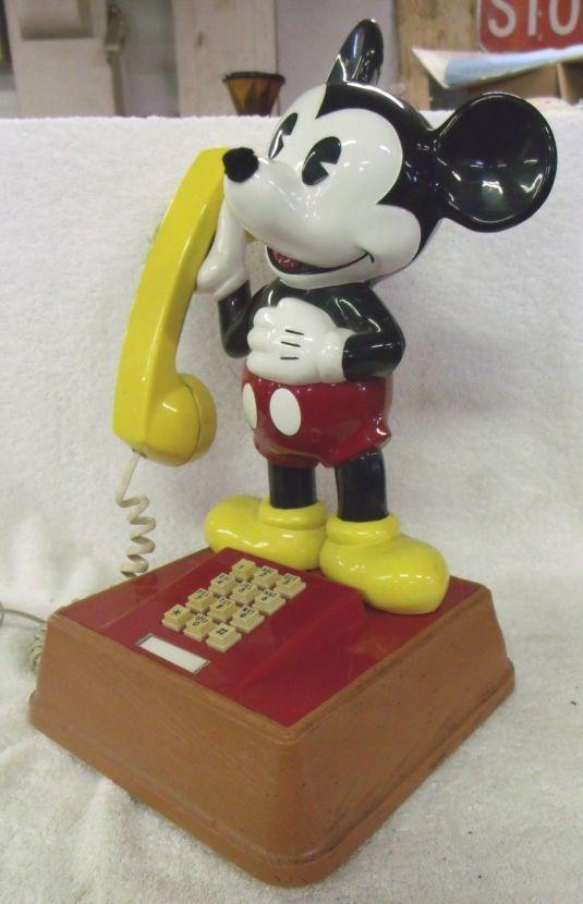 teléfono vintage años 70 Walt Disney Mickey Mouse Retro Push Button teléfono 1976