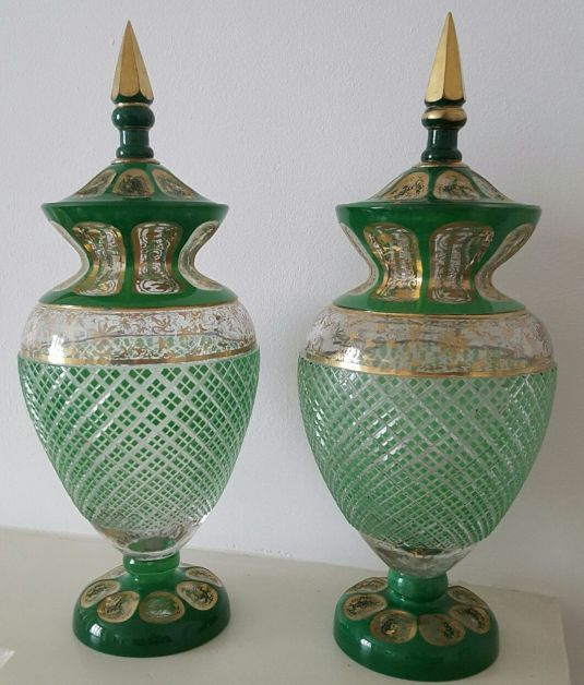 cristal baccarat par de ánforas verde pan de oro 40 cm de alto francia 1850
