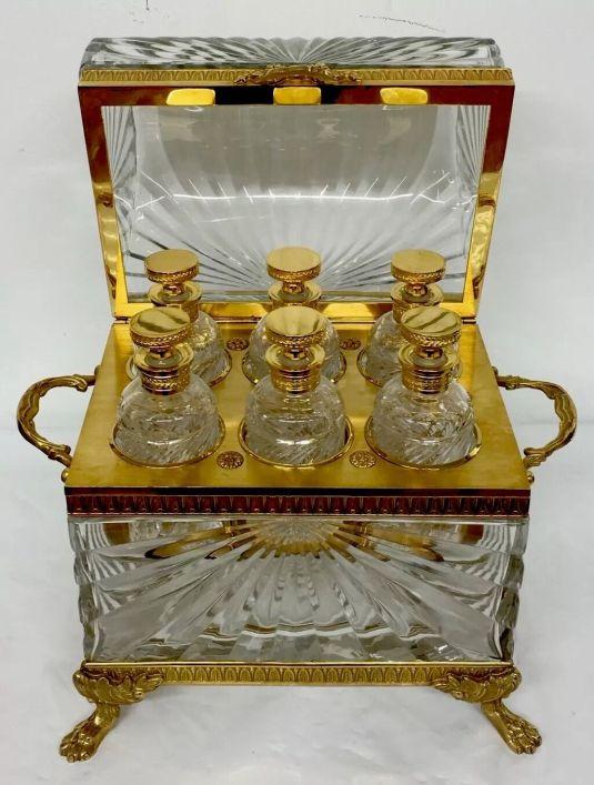 cristal baccarat seis licoreras en su estuche cristal y bronce francia 1850