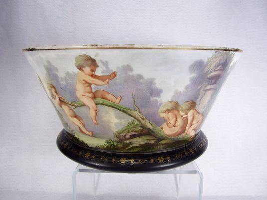 cristal baccarat tazón opalina decorada por jean francois roger francia 1830