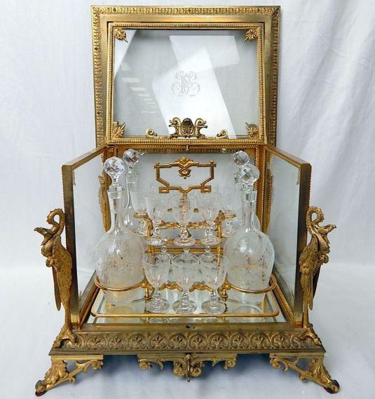 cristal baccart fabuloso juego de bar con urna de bronce francia 1870
