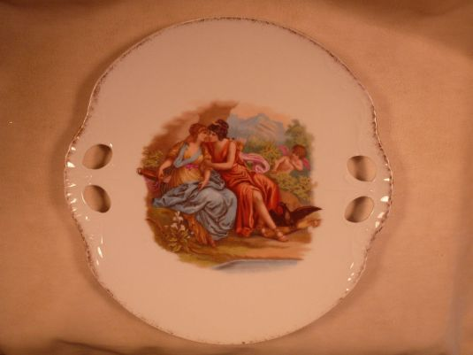 gay ANTIQUE AUSTRIAN PORCELAIN 2 HANDLED PLATE RARE GAY LESBIAN LOVERS WITH CUPID 1850