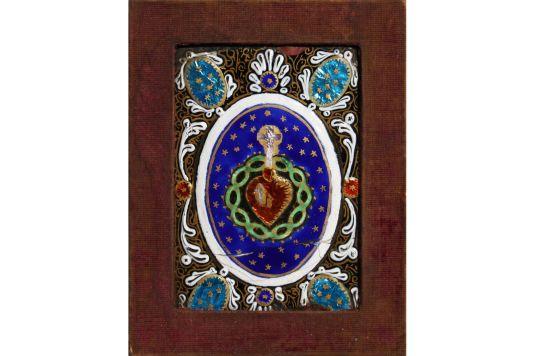 metal esmaltado placa decorada con la rosa y la cruz Italia siglo XVI