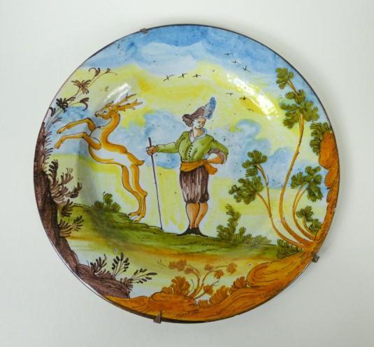 metal esmaltado plato metal de Limoge Francia segunda mitad siglo XVII