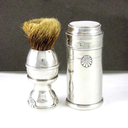 barbería cepillo de afeitar con mango y estuche de plata bélle Epoque Francia 1920