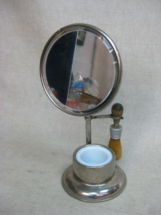 barbería espejo de afeitar de acero cromado USA 1920