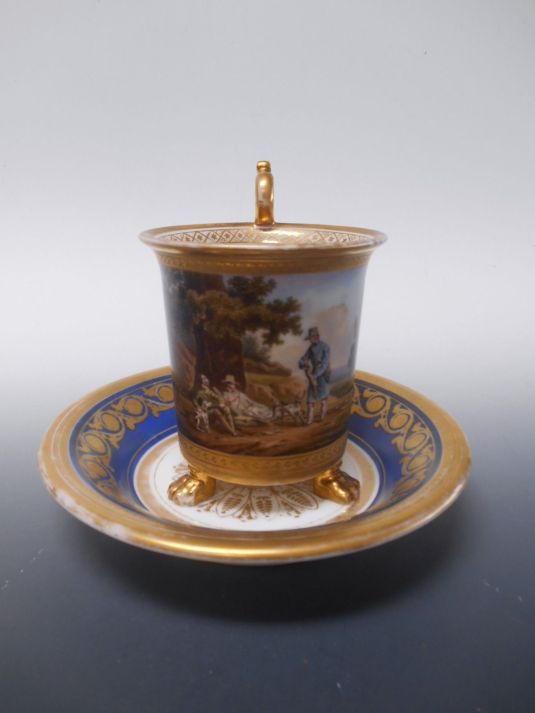 barbería jarro para afeitarse en porcelana francesa 1850