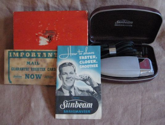 barbería máquina eléctrica de afeitar Sunbeam USA 1940