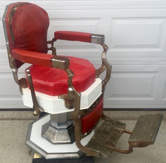 barbería sillón Koken octogonal principios de 1900