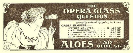 Opera publicidad de binoculares y lentillas USA 1892