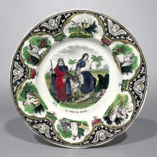 plato de porcelana francesa Creil & Montereau de la serie vida de Jesús representa huída de Jesús a Egipto 1850