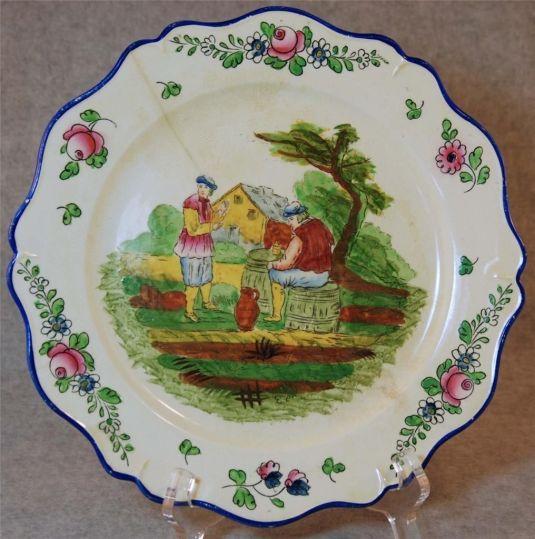 plato de porcelana inglesa Royal Adams Ivory siglo XIX