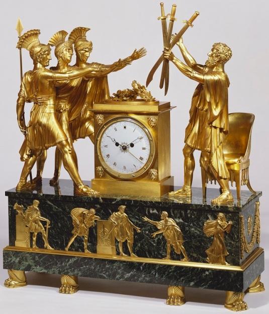 reloj de Buckingham Palace Oath of the Horatii por Claude Galle siglo XIX