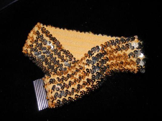 lentejuelas cinturón strech bordado con lentejuelas de los 70s
