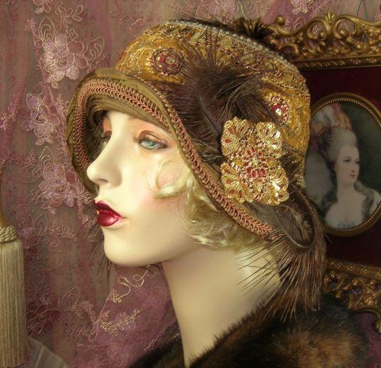 lentejuelas sombrero decorado con plumas lentejuelas y cordones de seda