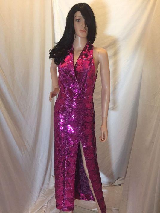 lentejuelas vestido disco totalmente bordado de lentejuelas color fucsia de los 70s