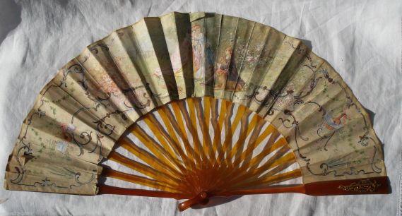 carey abanico europeo de carey y papel 1840