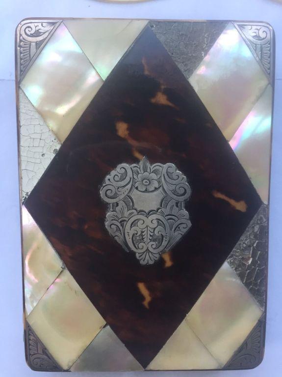 Carey caja Victoriana para tarjetas personales de plata carey y madreperla