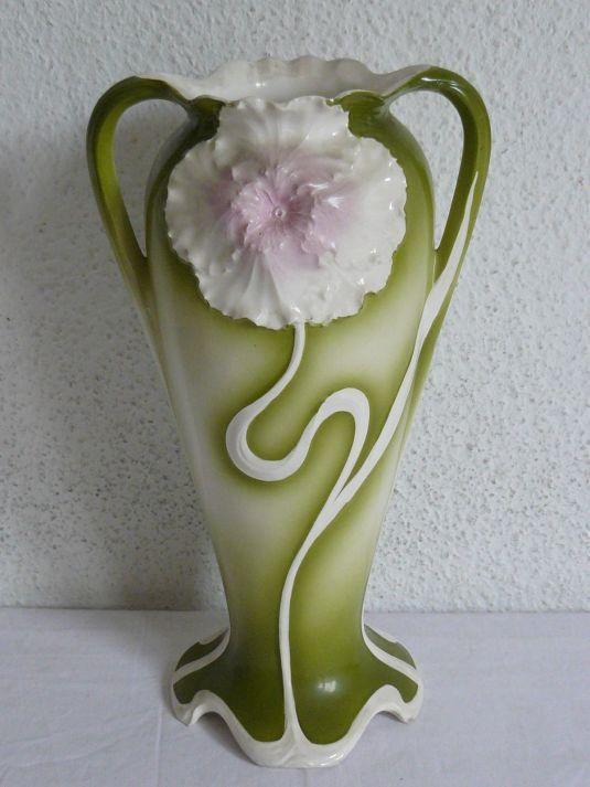 Jarrón Jugendstil tulipán de porcelana Max Roesler Alemania 1890