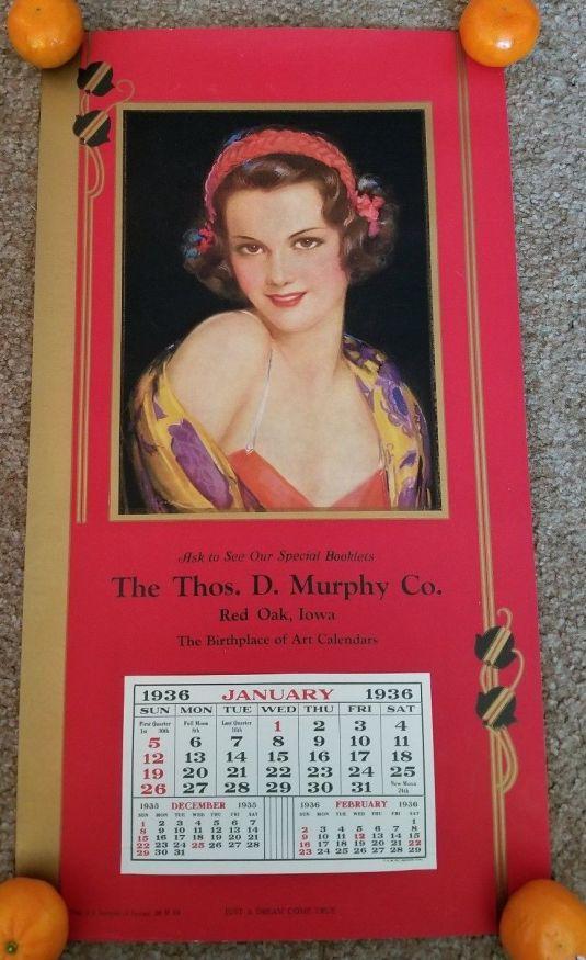 Art Deco Jazz calendario norteamericano de 1936