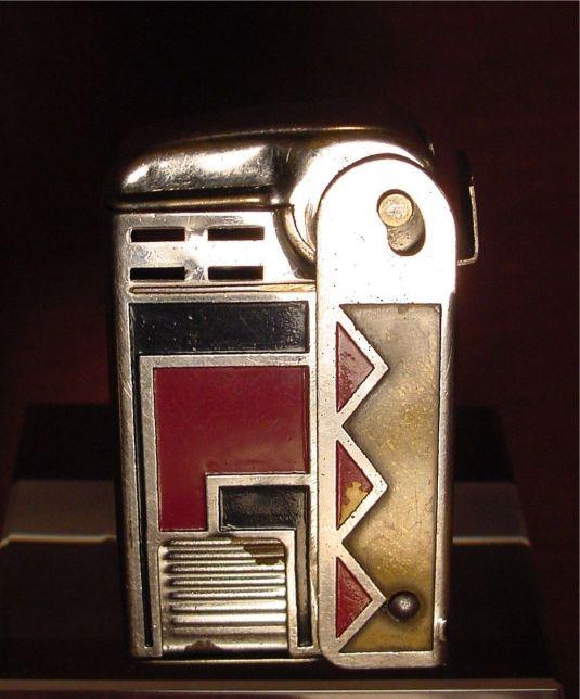 Art Deco Jazz encendedor cromado de la era Art Deco Jazz Estados Unidos 1930
