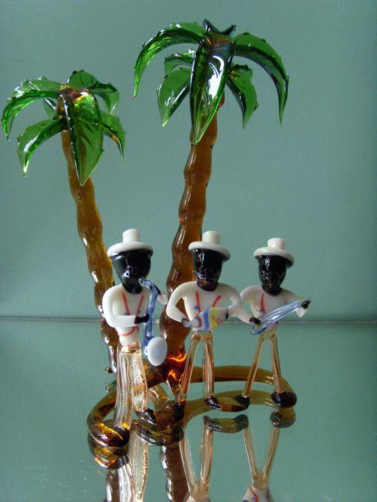 Art Deco Jazz figura de vidrio del grupo de jazz Black American Jazz Group Caribic de BIMINI LAUSCHA VIENNA Estados Unidos 1930s