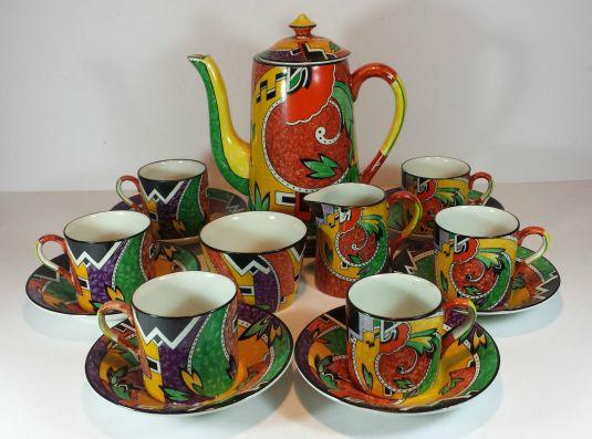 Art Deco Jazz juego de té de porcelana Royal Winton Inglaterra 1930s