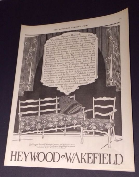 Art Deco Jazz publicidad de la fábrica de muebles Heywood Wakefield Furniture que muestra un diseno de 1926