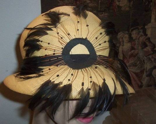 Art Deco Jazz sombrero flapper con plumas Estados Unidos 1920s