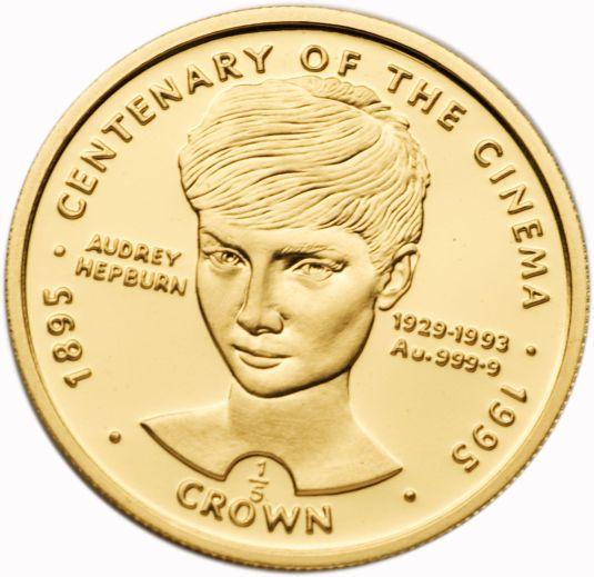 Audrey Hepburn moneda de oro conmemorativa a los cien anos del cine, Inglaterra 1995