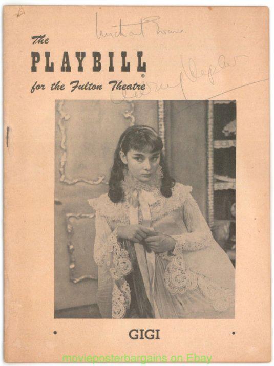 Audrey Hepburn programa de la obra teatral de Broadway GIGI protagonizada por AUDREY HEPBURN & MICHAEL EVANS en 1952 con autógrafo original