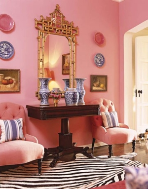 Hollywood Regency decoración rosa