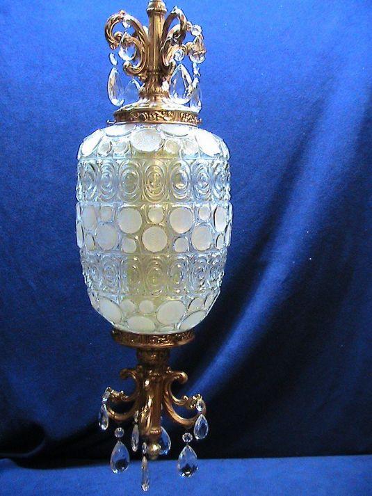 lámpara de cristal y bronce hollywood regency
