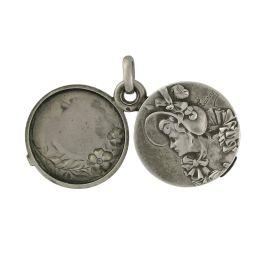 Medallón Art Nouveau de plata 925. Estados Unidos,1905.