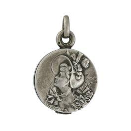 Medallón Art Nouveau de plata 925. Estados Unidos 1905