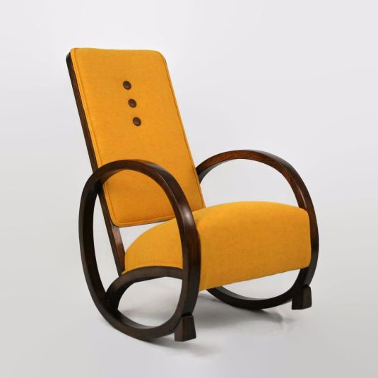 mecedora 1930 USA art deco, madera roble, tapiz Harris Tweed amarillo