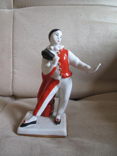 oficio arlequin de porcelana Verbilki , Rusia 1950