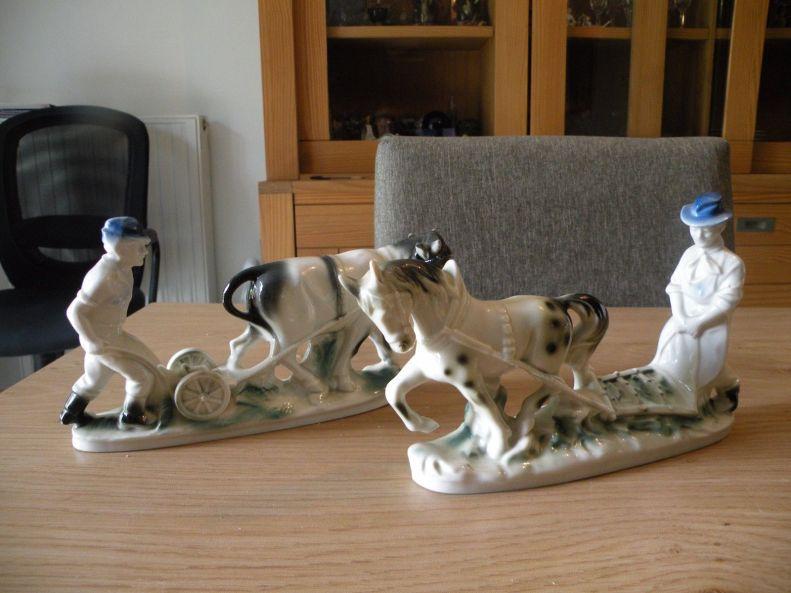oficio campesinos arando la tierra. cerámica alemana