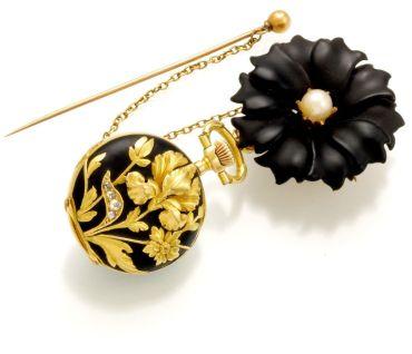 reloj de bolsillo dama oro 18K diamantes perlas flor esmaltada Suiza 1890